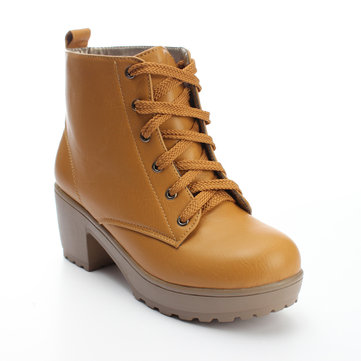Women's Winter Round Toe Boots Lace Up Platform Shoes